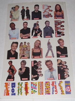 Sheet of SMASH HITS STICKERS-S CLUB 7/FIVE/WESTLIFE/BOYZONE/A1/ANT & DEC
