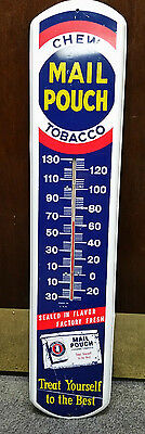 Vintage Mail Pouch Chewing Tobacco Thermometer Sign-- Clean Works Great!