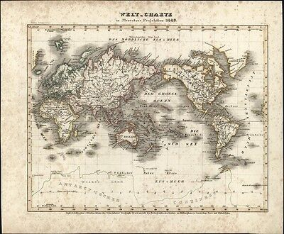 World in Hemispheres continents Asia Europe Americas c.1850 Meyer w/ hand color