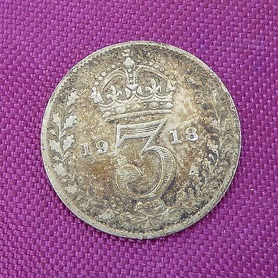 1918 George V 'Silver' Threepenny Piece Worn Stained Condition Ref 214