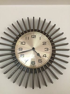 Vintage / Retro 1960's/70s Westclox  Gold And Brown Plastic Battery wall clock