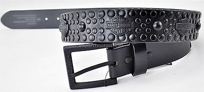"Harley-Davidson Black Leather Men's ""Bar & Shield"" Studded Belt, Size 40"
