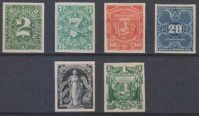 URUGUAY 1889 Sc 76, 81, 84, 86, 89 & 95 TOP VALUE IMPERF PROOFS UNISSUED COLORS