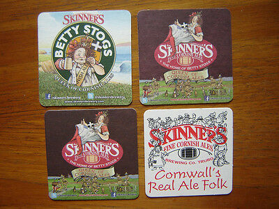 4  Different  Skinner's  Fine  Cornish  Ales   Beer  Mats / Coasters  New