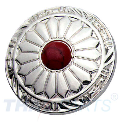 Concho #060 30mm Wild Hearts Concho Silber Stein Rot