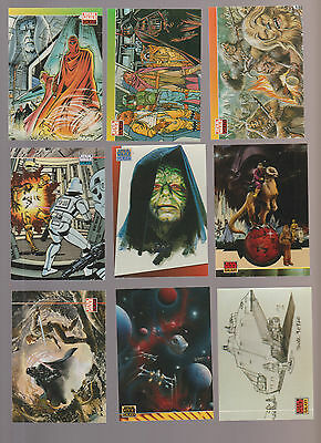 Lot of 9 Star Wars Galaxy trading cards Pub. 1994 Topps earl norem Palpatine