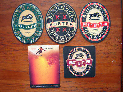 5  Different  Ringwood  Brewery  Beer  Mats / Coasters    New