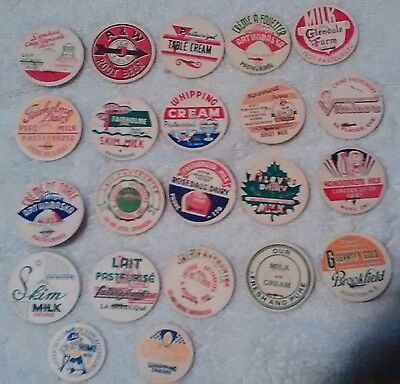 22 Milk bottle caps all pictured  shipping FREE