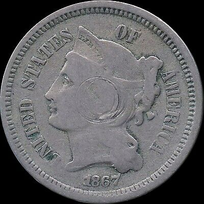 1867 United States 3 Cent Nickel Coin