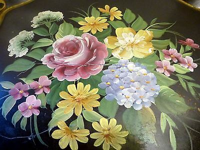 Antique Tole ware Toleware Heavy Metal Tray Hand Painted Floral