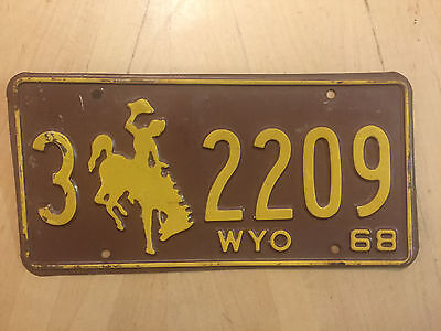 "Wyoming 1968 Auto Passenger  License Plate  "" 3 2209 "" Wy 68 Bucking Bronco"