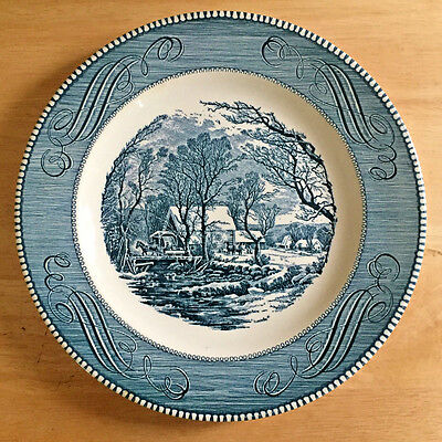 "Currier and Ives Old Grist Mill Blue 10"" Dinner Plate by Royal China"