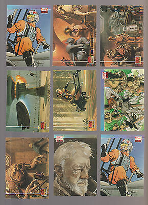 Lot of 9 Star Wars Galaxy trading cards Pub. 1994 Topps (some duplicates)