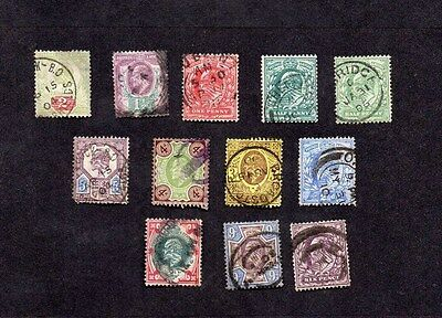 EDWARD VII.GB.1902.BASIC SET OF STAMPS TO 1/- EXCLUDING 7d and 10d.GOOD USED.
