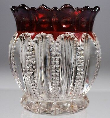 EAPG - McKee Bros. - THE PRIZE - Toothpick Holder - Ruby Stained.