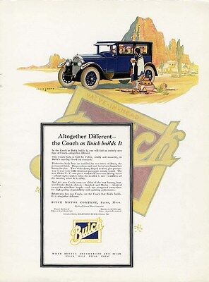 BUICK COACH Auto Car Ad 1925 in Arizona Desert Buying American Indian Pottery