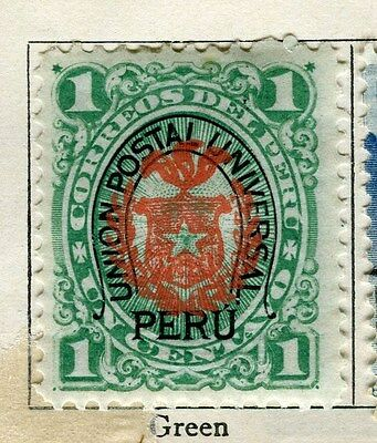 PERU;  1881 classic issue + Arms of Chile Optd. Mint unused 1c. + UPU cancel
