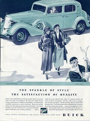 BUICK Auto Car Ad 1935 Large 4 Door Sedan in Green Body by Fisher