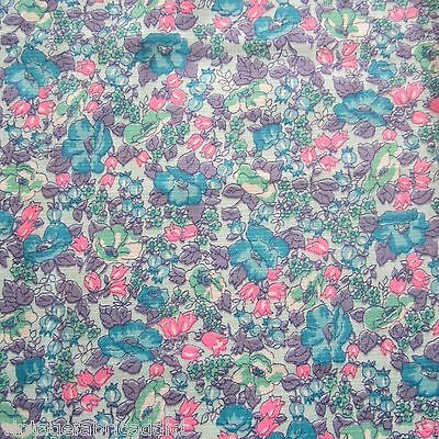 50 X 90 LOVELY TEXTURED COTTON 1960s BLUE PURPLE FLORAL CRAFT VINTAGE FABRIC