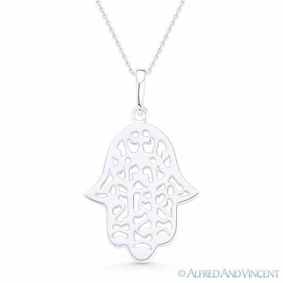 Hamsa Hand Evil Eye Jewish Luck Charm Pendant & Necklace in .925 Sterling Silver