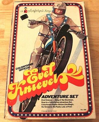 Rare Vintage Original 1974 Colorforms Evel Knievel Adventure Set Toy Used Look