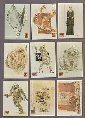 Lot of 9 Star Wars Galaxy trading cards Pub. 1994 Topps