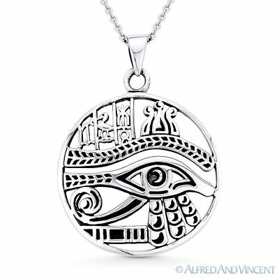 Eye of Horus Egyptian Udjat Wedjat .925 Sterling Silver Egypt Luck Charm Pendant
