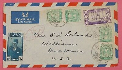 1948 Syria Multi Franked Airmail Cover To Usa