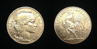 AUTHENTIC 1907 A date-French Rooster  -- GEM BU PRE WW-I EAR GOLD COIN