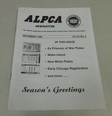 December 1996 ALPCA newsletter Ex Pow Wake Island Malta early Chicago plates