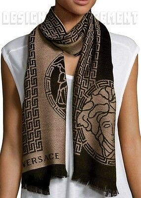 VERSACE Mens 100% Wool beige & black GREEK KEY & MEDUSA long scarf NWT Authentic