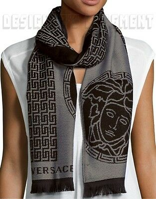 VERSACE Mens 100% Wool gray & black GREEK KEY & MEDUSA long scarf NWT Authentic!