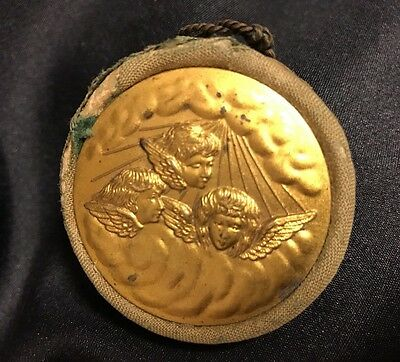 Antique Victorian Angels Metal Pin Cushion Velvet Chatelaine