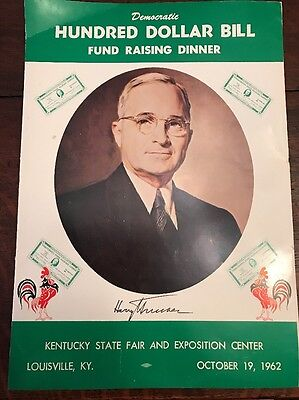 1962 Harry Truman Hundred Dollar Bill Fundraising Dinner Menu Louisville KY