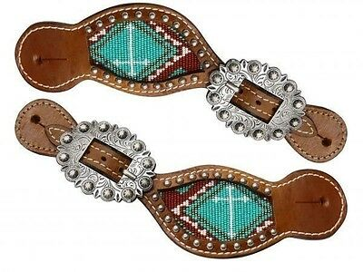 Showman Ladies Medium Oil Brown and Teal BEADED Cross Western Spur Straps New