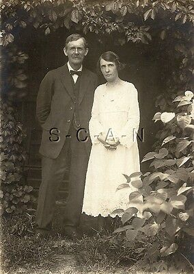Original Vintage 1904-18 AZO RPPC- Husband & Wife- Newly Married on 4th of July