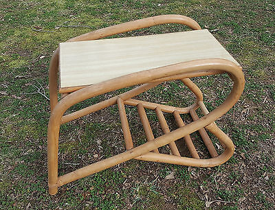 Mid Century Bentwood Bamboo Side Table & Magazine Rack Blonde Tiki Frankl Style