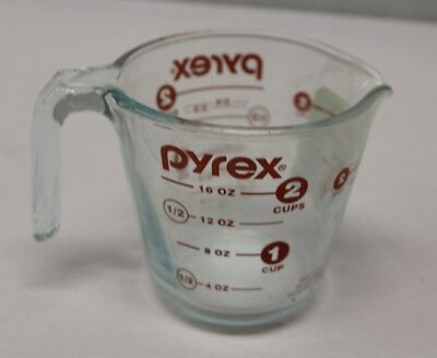 New Pyrex Prepware 2 Cup/500 ml Measuring Cup Red Graphics Clear