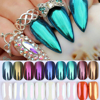 Shiny Mirror Powder Glitter Stickers Nail Art Chrome Pigment DIY BORN PRETTY
