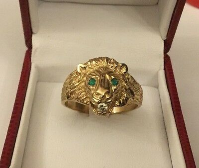 HM 9ct 9k Yellow Gold Mens Gents Diamond Emerald Lions Head Ring Size Z + 2