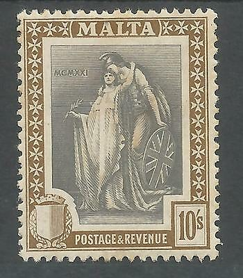 Malta Sg138 The 1922 Gv 10/- Slate Grey & Brown Mounted Mint Cat £65