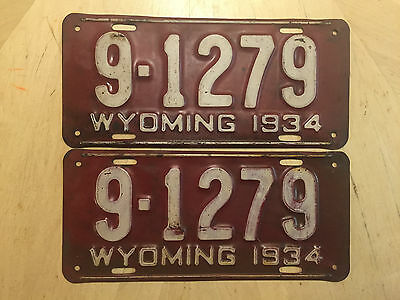 "Wyoming  Original 1934 License Plate  Plates  Matching Pair  "" 9  1279 "" Wy  34"