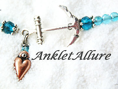 Anchor Anklet Love Cruise Ankle Bracelet Copper Heart Anklet Body Jewerly