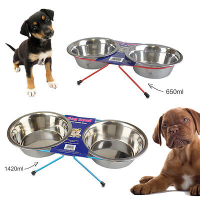 Dog Bowl Double Diner Feeder Food Water Dish Small Large Raised Cat Pet Rabbit
