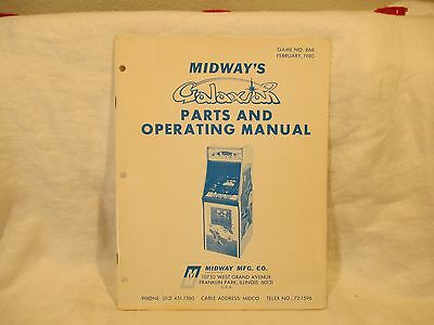 Midway Galaxian Arcade Game Parts and Operating Manual
