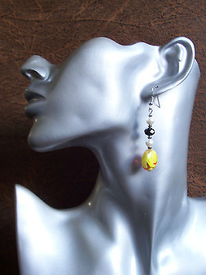 Yellow faceted crystal Tibetan Silver earrings - clip-on or pierced