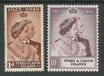 Turks&caicos Is  1948 Gvi Silver Wedding Pair Fresh Unmounted Mint(Mnh) Cat £14+