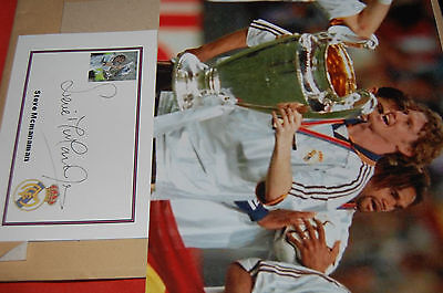 Real Madrid Champs League Steve Mcmanaman Signed Designed Card With 10X8 Photo