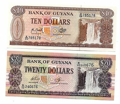 GUYANA  10 and 20 Dollars   - A Set of 2 Crisp UNC Banknotes