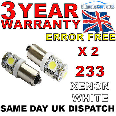 2x 5 SMD LED HID XENON WHITE SIDE LIGHT BULB 233 BA9S T4W BAYONET CAP 360 UK